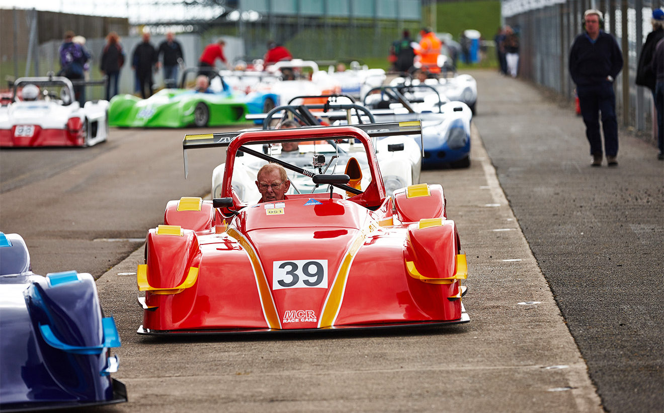 racing at Silverstone race circuit with MCR Race Cars