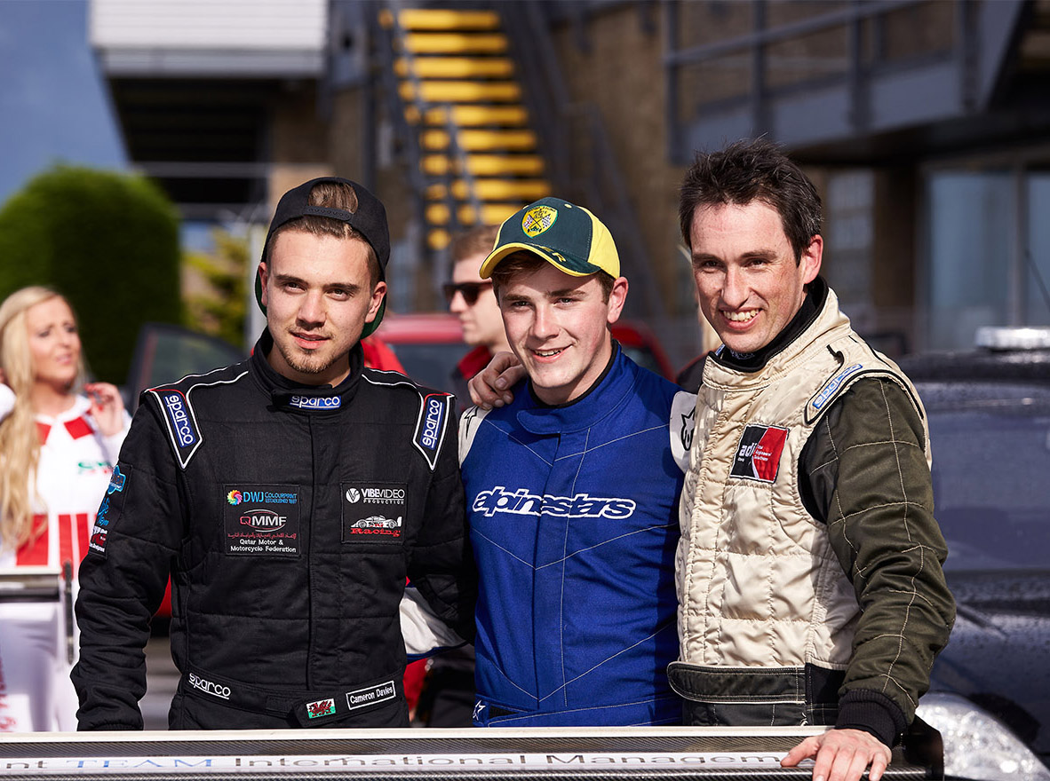 MCR Racing drivers at Silverstone GP circuit